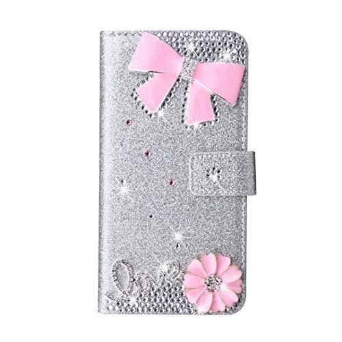 Funda para Samsung Galaxy S8 Plus, 3D hecha a mano con gemas de cristal con purpurina rosa lazo para teléfono móvil, funda protectora para Samsung Galaxy S8 Plus