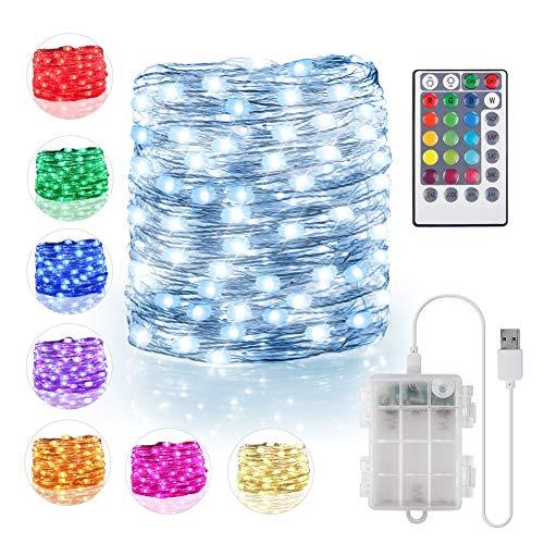 100 luci a LED a batteria e alimentazione USB, 10,1 m, 16 colori impermeabili con telecomando timer luci natalizie per camera da letto, dormitorio, giardino, patio, festa di nozze (132 modalità)