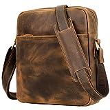 Messenger Bag for Men, Jack&Chris Men Bags Shoulder Vintage Genuine Leather Bag (Brown)