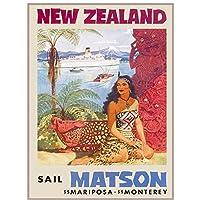 Kyasdp ニュージーランドセイルマトソンヴィンテージ旅行広告アートポスター家の装飾のための絵画キャンバスに印刷-60X90Cmフレームなし