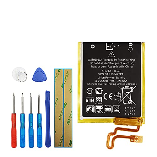 E-YIIVIIL 616-0640 616-0639 Replacement Battery Compatible with iPod Nano 7,iPod Nano 7th,iPod Nano 5th16G,A1446 with Toolkit