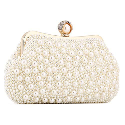 UBORSE Damen Abendtasche Weiß Clutch Perlen Handtasche Kleine Elegant Umhängetasche Mini Kette Tasche Vintage Schultertasche für Hochzeit Party Disko - Ivory milchig