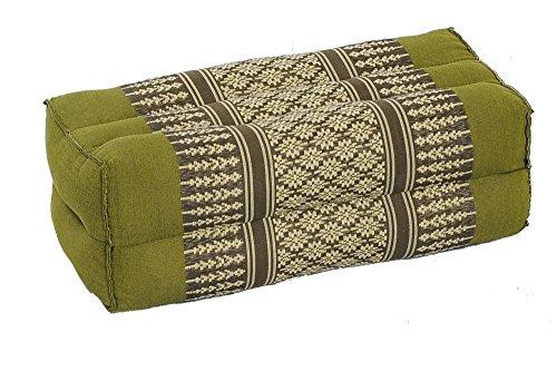 Handelsturm Thaikissen Meditationskissen Nackenkissen 35x15x10 grün Kissen mit Füllung aus Kapok Yogakissen