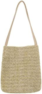 New Straw bag Casual Handbag Summer Holiday Shoulder Bag Ladies Weaving Bucket Beach,Brown,S