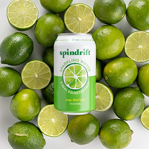 Spindrift Sparkling Water, Lime Flavored, Made with Real Squeezed Fruit, 12 Fl Oz Cans, Pack of 24 (Only 4 Calories per Seltzer Water Can)