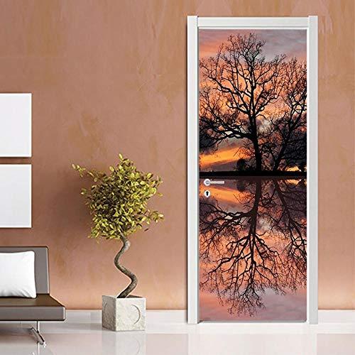 SPSPKZ Door Art Mural Pegatinas Puerta Foto Poster Puerta Pared Niños Cuarto Baño Cocina Sala Escalera Autoadhesivas Vinilo Impermeable Puesta De Sol En El Bosque Junto Al Lago Arte Moderno Decoración