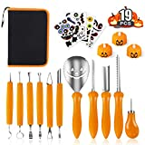 Professional Halloween Pumpkin Carving Kit, 19-Pack Pumpkin Carving Tools Set for Kids and Adults, Stainless Steel Sculpting Stencils for Halloween Party Lanterns Decorations, Comes with Storage Case