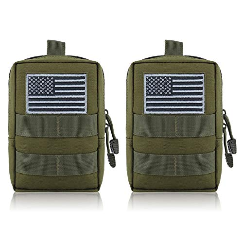 FUNANASUN MOLLE Pouches - 2 Pack Tactical Compact Pack Water-Resistant Utility EDC Pouch Small Black with US Flag Patch ?Green?