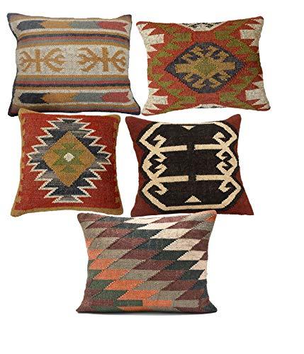iinfinize Funda de cojín de lana de yute tejida a mano de 45,72 cm, cuadrada, rústica, funda de sofá, almohada de suelo, almohada de cuerpo, almohada de silla, 5 piezas