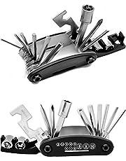 Outdoor Saxx® - 15-in-1 multitool voor fiets, schroefdraaier, kruiskop, schroefsleutel, moer, inbussleutel, 6-kant, inklapbaar roestvrij staal