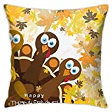 DHGER Happy Thanksgiving Turkey Vector Decorativo Throw Pillow Cover Funda de cojín de poliéster para el hogar Sofá Dormitorio Coche Silla House Party Interior al Aire Libre 18 X 18 Pulgadas 45 X 45