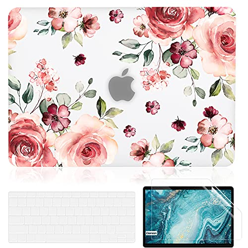 Capa iDonzon para MacBook Air de 13 polegadas A1466 A1369 versão 2010-2017, capa dura fosca transparente e protetor de tela compatível com Mac Air de 13,3 polegadas - Flores de pêssego