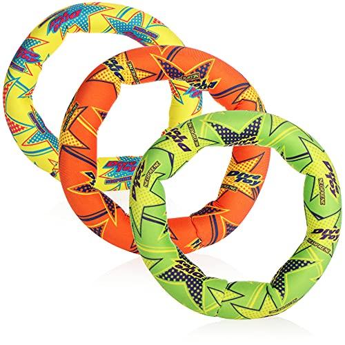com-four® 3X Tauchringe für Kinder - Tauchspielzeug Ring - Badespielzeug für Kinder in DREI Farben - Tauchringe-Set für Pool, Meer, See & Badewanne (03 Stück - bunt - Tauchring)