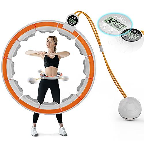 Smart Hula Hoop Reifen mit Massageköpfe und intelligent Zähler mit Trainingsstatistik, verbessertes hola hup, leiser & sicherer, Hoola hoop für Muskeltraining, houlahoop Reifen für Kinder Erwachsene