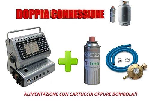Dubbele aansluitingen, stroomvoorziening met cartridge of bonbola + 1 gasfles van 250 g, inclusief set voor gastgeschenken met Italiaanse aansluiting.