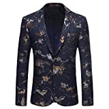 Mens Dress Floral Suit Slim Fit Single Breasted Stylish Casual Printed Blazer Jacket Blue
