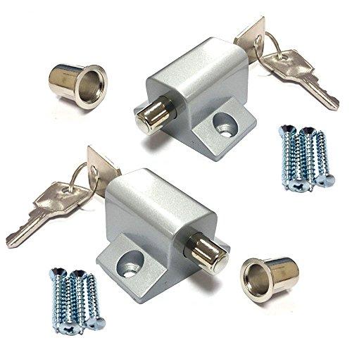 2 Pack of Window and Patio Door Sliding Locks with Keys Silv