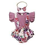 Conjunto 3 Piezas Verano niña con Volantes Cuello Redondo Color sólido+Falda pantalón con Estampado Floral/Leopardo con Tirantes+Diadema con Lazo 0-18 Meses (Violeta, 6-12 Meses)