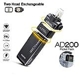 Godox AD200 Taschenblitz, 2,4 G, TTL, Blitzlicht, Speedlite-Blitz, HSS, Monolight, mit Lithium-Akku von 2900 mAh und 200 WS mit blitzem Kopf, ersetzt 500 Blitze -