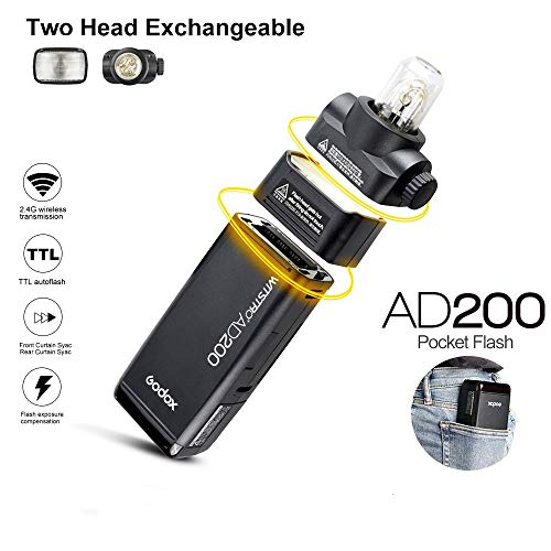 Godox AD200 Pocket Flash TTL 200Ws Speedlite 2.4G Flash Strobe HSS 1/8000s Monolight con Batteria al litio 2900mAh e Testina lampadina nuda per coprire 500 flash