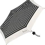 Pierre Cardin Petito Black & White Border - Paraguas de bolsillo, color blanco y negro