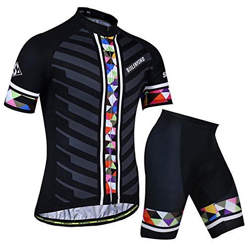 Radtrikot, Sommeranzug Für Herren, Schnell Trocknend Und Atmungsaktiv, Oberteil Und Shorts (Black,XL)
