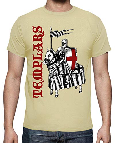 latostadora - Camiseta Templarios para Hombre Crema S