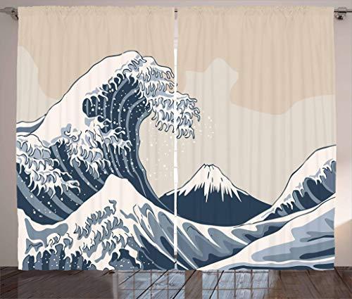 "Lunarable Wave Curtains, Oriental Culture Hand Drawn Style Japanese Motifs Illustration Wave, Living Room Bedroom Window Drapes 2 Panel Set, 108"" X 84"", Blue Grey"