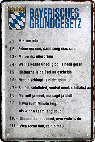 """Blechschilder Lustiger bayerisch Spruch: """"Bayerisches Gr&gesetz"""" Deko Hängeschild Tür bayrisch München Flagge Wappen Metallschild Schild Geschenk zum Geburtstag oder Weihnachten 20x30 cm"""