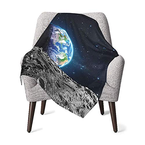 View Of Earth Globe From Moon Surface Out Space Dark Matter Galaxy Theme Grey Blue Baby Blanket, Baby Quilt, Baby Comfort Blanket, Baby Double Blanket