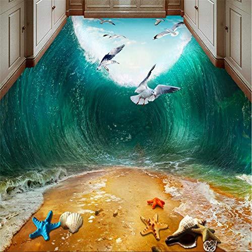 Suelo Vinilo Autoadhesivo Personalizado Gran Mural De Pvc Impermeable Onda De Choque Mar Pájaro Playa Baño Baño Dormitorio 3D Piso Piso Pegatina-350 * 245 Cm Para El Dormitorio De La Sala De Estar D
