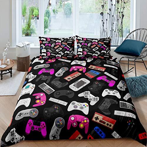 Funda de edredón para juegos de niños, funda de edredón con mando de gamepad, juego de cama moderno para niños, adolescentes, dormitorio juvenil, funda de cama con lazos en las esquinas