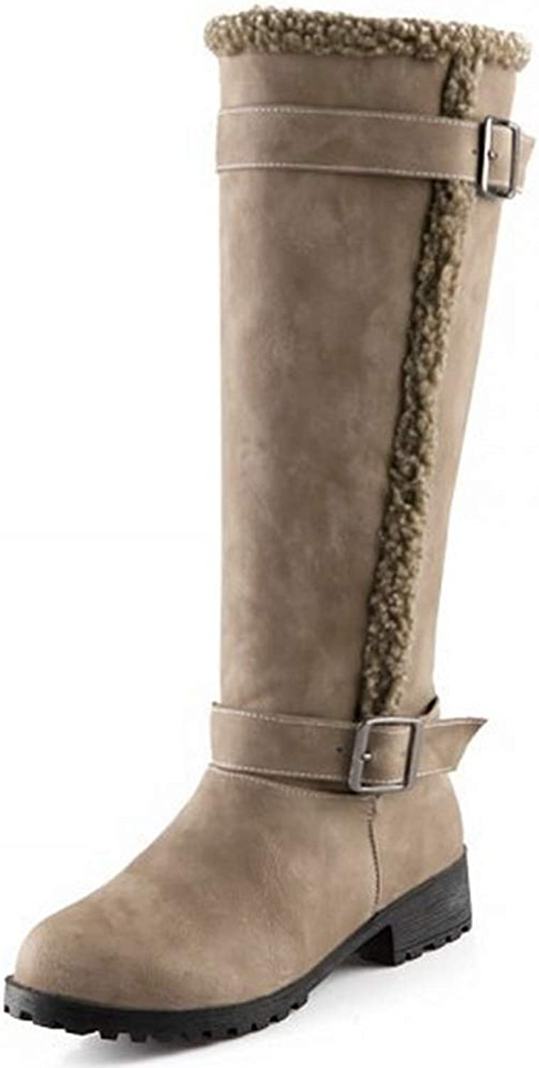 GIY Women's Knee High Flat Boots Cushioned Warm Fur Lining Side Buckle Casual Over Western Riding Boots