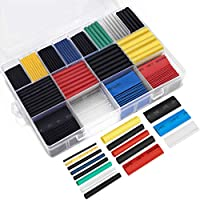 Ginsco 580 -Pieces 2:1 Heat Shrink Tube 6 Colors 11 Sizes Tubing Set