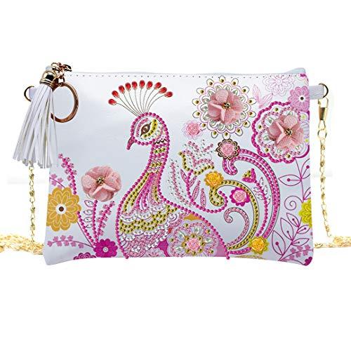 zhuao vlinder pauw schuine tas, mandala diamant schilderij handtas, geborduurde diamant schoudertas