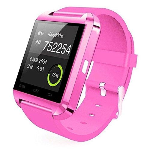 Hinmay U8 Bluetooth Smart Watch voor Android en iOS-smartphones, fitnesstracker/polshorloge met stappenteller/muziekspeler/oproepherinnering/camera voor telefoonopnames, voor mannen en vrouwen, slim gezondheidspolshorloge voor Apple iPhone 6/6S/6 Plus/6S Plus/5S/SE, Samsung Note3/Note4/Note5/S7/S6/S5/S4, Sony, Huawei, roze