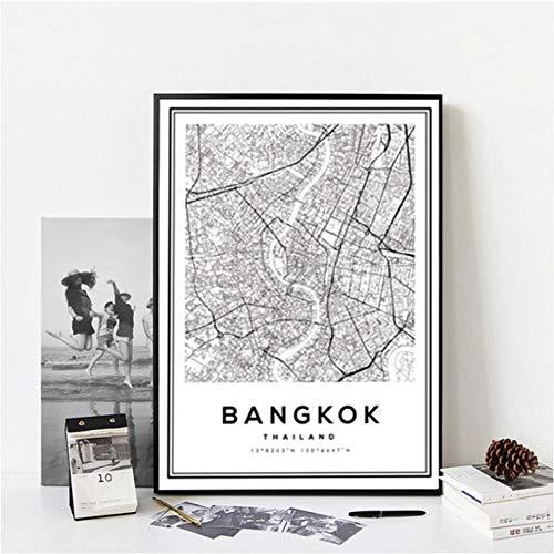 Moderne zwart-wit Bangkok City Map Thailand Reizen Canvas Schilderij Poster Print Wall Art Foto's voor Home Decor 40x50cmx1 unframed