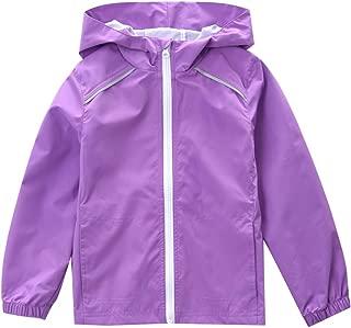 Girls Lightweight Waterproof Rain Jacket Hooded Windproof Raincoat