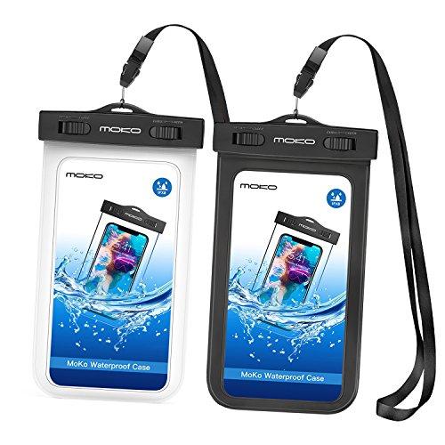 MoKo Funda Impermeable para iPhone 12/12 mini/12 Pro/X/XS / 8/7 / 6S Plus Samsung Galaxy S9 Samsung S8 Plus Samsung S7 Edge Samsung S6 Huawei, Negro/Blanco