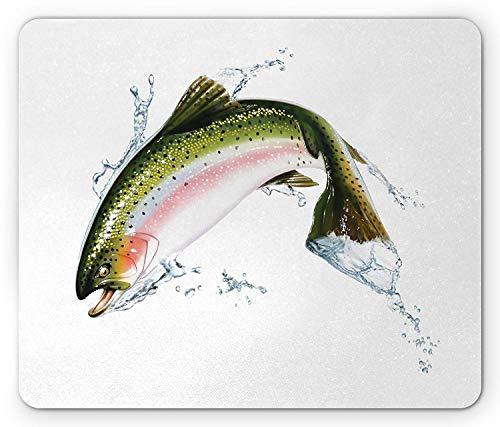 Fish Mouse Pad, zalm springen uit water maken Splashes Cartoon ontwerp Photorealistic Airbrush, rechthoek anti-slip Rubber Mousepad