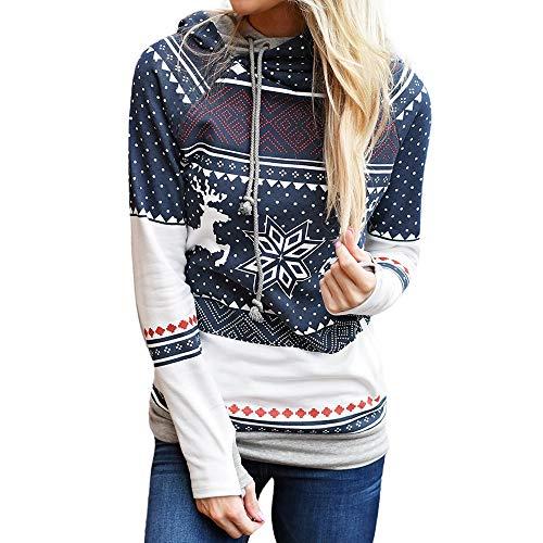 YWLINK Weihnachten Damen Schneeflocke Rudolf Punkte Schneeflocke Print Oberteile Mit Kapuze Sweatshirt Pullover Slim Sport Bluse