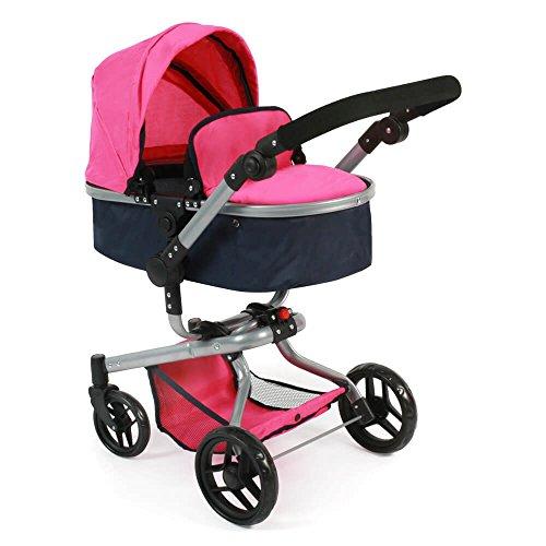 Bayer Chic 2000 - Grote combi-poppenwagen YOLO 2-in-1, voor kinderen vanaf 3 jaar Navy-pink