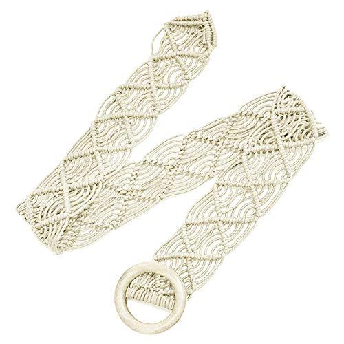 KaariFirefly Handgefertigter geflochtener Damen-Gürtel, Retro-Stil, runde Holzschnalle, Taillengürtel, Kleid, Dekoration, beige