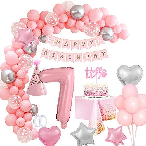 MMTX Geburtstagsdeko Mädchen 7 Jahr Rosa Geburtstag Party Deko, XXL Folienballons 7, Mädchen Geburtstag Dekoration, Happy Birthday Girlande Luftballon Torten Topper Tischdecke, Birthday Decorations