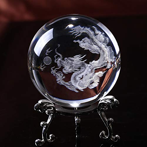 Crystal 2.4 inch (60mm) Chinese Dragon Crystal Ball with Sliver-Plated Flowering Stand,Fengshui Glass Loong Ball Home Decoration
