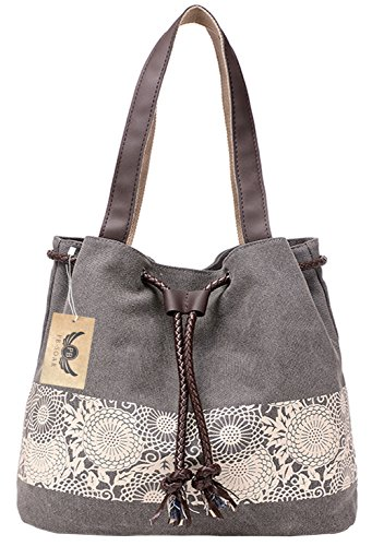 PB-SOAR Damen Vintage Canvas Shopper Schultertasche Beuteltasche Handtasche mit Kordelzug 30x29x12cm (B x H x T) (Grau)