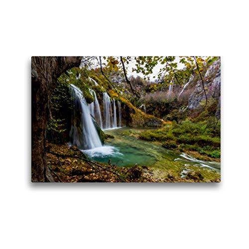 CALVENDO Premium Textil-Leinwand 45 x 30 cm Quer-Format Herbstimpressionen Plitvicer Seen, Leinwanddruck von Franz Kaufmann