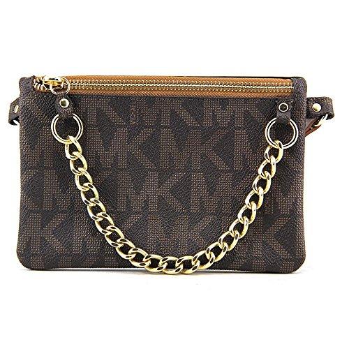Michael Kors Brown MK Signature Fanny Pack Belt Bag (Small)