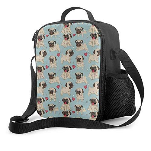 Lawenp Cute pug sport bolsa de almuerzo aislada, bolsa de almuerzo plana a prueba de fugas con correa para el hombro para hombres y mujeres, adecuada para el trabajo y la oficina