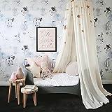 Salmue - Dosel de cama de algodón + anillo de acero + ganchos + placas de base + cintas adhesivas + tornillos de bloqueo de luz. Domo Princesa, mosquitera equipada con herramientas de montaje